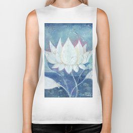 Abstract Lotus Art Acrylic Painting Reproduction by Kimberly Schulz Biker Tank