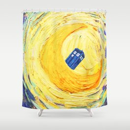 Tardis Flying With Circle Shower Curtain