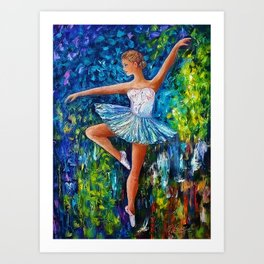 Dance In The Rain Of Color Art Print