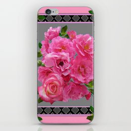 VICTORIAN STYLE CLUSTERED PINK ROSES ART iPhone Skin