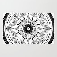 compass Area & Throw Rugs featuring Compass Rose by 83 Drops