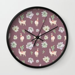 Cute Llamas with Flowers and Cacti (taupe theme) Wall Clock