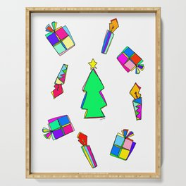 Ho Ho Ho Merry Christmas Illustration Colorful Pattern Serving Tray