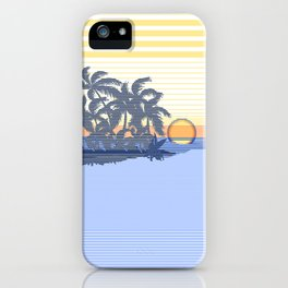 Big Sunset Hawaiian Surfer Striped Scenic iPhone Case