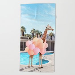 Giraffe Palm Springs Beach Towel