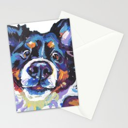 Berner Bernese Mountain Dog Portrait Pop Art painting by Lea Stationery Cards