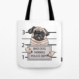 mugshot dog cartoon. Tote Bag
