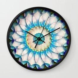 Aqua White Flower Kaleidoscope Wall Clock