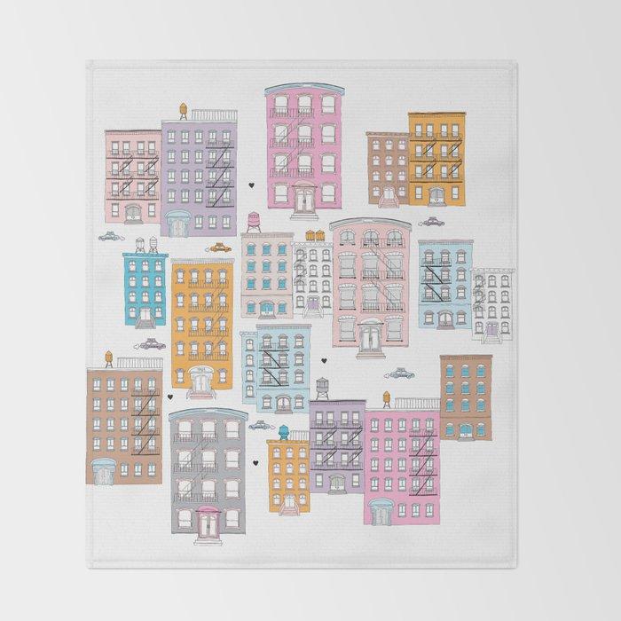 New York Brownstone Architecture - Pastel homes Throw Blanket