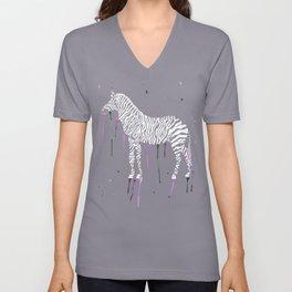 Watercolor Zebra [White Ink] Unisex V-Neck