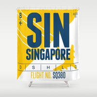 singapore Shower Curtains featuring Singapore Tag by Studio Tesouro