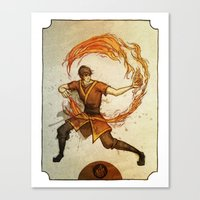 zuko Canvas Prints featuring Fire by Madalyn McLeod