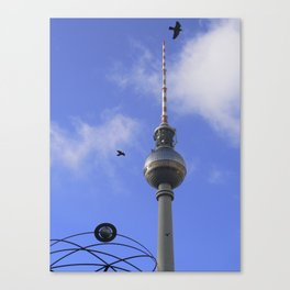 """TV Tower with detail of """"World time Clock"""", BERLIN Canvas Print"""