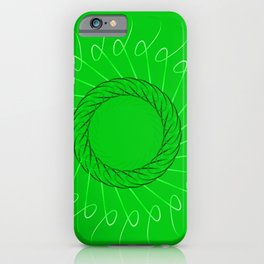 Spirographs yellow on a green background. iPhone Case