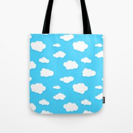 sky of blue and fluffly white clouds Tote Bag
