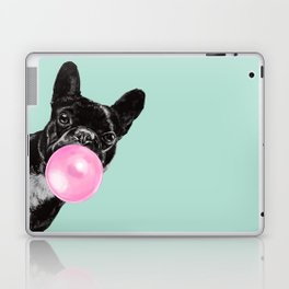 Bubble Gum Sneaky French Bulldog in Green Laptop & iPad Skin