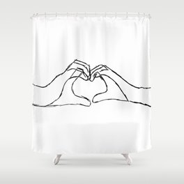 Hand heart black on white Shower Curtain