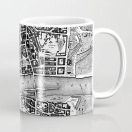 Vintage Map of Frankfurt Germany (1845) BW Coffee Mug