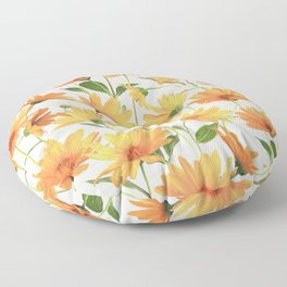 Painted Radiant Orange Daisies on off-white Floor Pillow