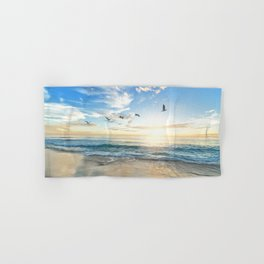 Ocean Beach Waves Sunset Photo Hand & Bath Towel