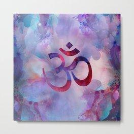 Om Symbol Watercolor Purples Metal Print