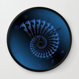 Tribal Dolphin Spiral Shell Wall Clock