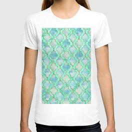 Luxury Aqua Teal Mint and Gold oriental quatrefoil pattern T-shirt