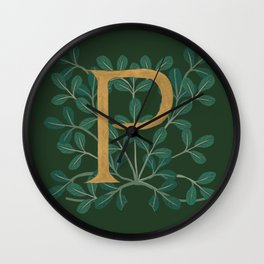 Forest Leaves Letter P 2018 Wall Clock