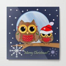 Cute Christmas Owls & Text Metal Print