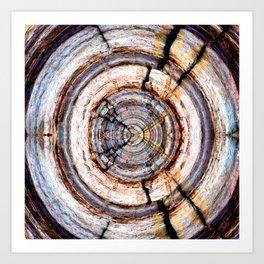 cracked old wooden trunk digital art Art Print