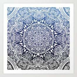 Blue Gradient Mandala Art Print