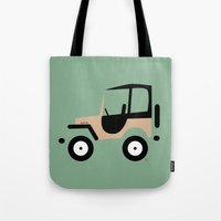 jeep Tote Bags featuring Just a Jeep by Marcelo Badari