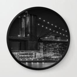 MANHATTAN SKYLINE & BROOKLYN BRIDGE Nightly Impressions | Panoramic Monochrome Wall Clock