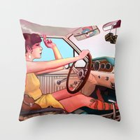 camera Throw Pillows featuring The Getaway by Rudy Faber