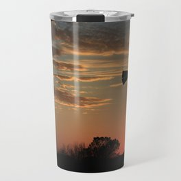 Kansas Golden Sky Windmill Silhouette Travel Mug