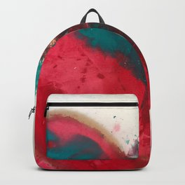 Heartbeat: an abstract heart in green, gold, and red by Alyssa Hamilton Art Backpack