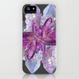 DRUZY QUARTZ & PURPLE AMETHYST CRYSTALS FEBRUARY GEMS iPhone Case