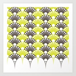 brown and lime art deco inspired fan pattern Art Print