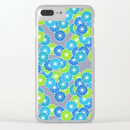Art Deco Stylized Flower Pattern Blue and Lime Green Clear iPhone Case
