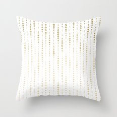 NYC Nights Gold Polka Dot Stripes Throw Pillow