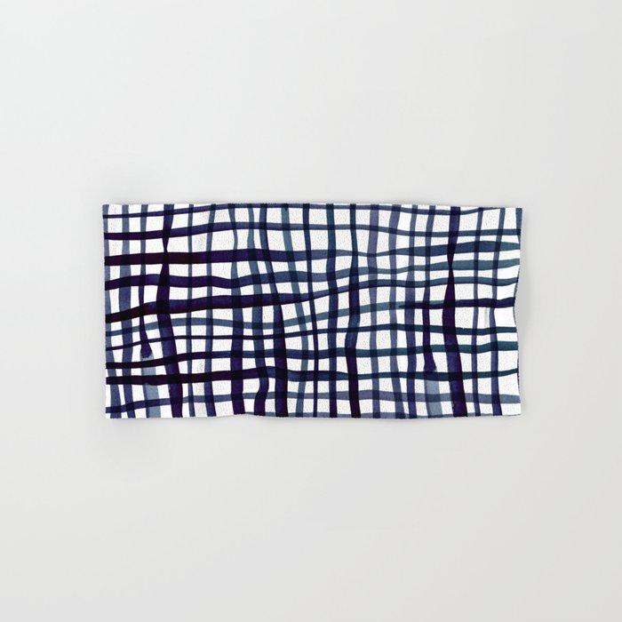 Watercolor doodle gingham - indigo Hand & Bath Towel