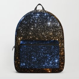 Galaxy Sparkle Stars Blue to Golden Bronze Ombre Backpack