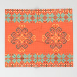 Christmas knitted pattern Throw Blanket