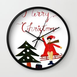 Merry Christmas Scene Wall Clock