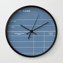 Library Card BSS 28 Negative Blue Wall Clock