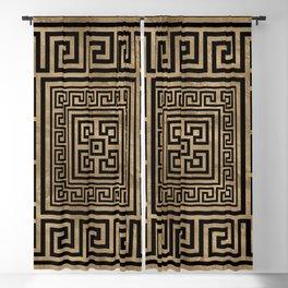 Greek Key Ornament - Greek Meander -Black on gold Blackout Curtain