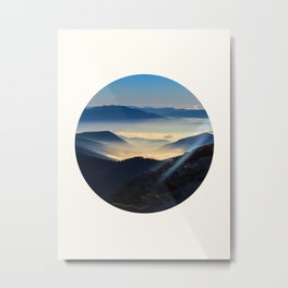 Mid Century Modern Round Circle Photo Sunrise Over Mountain Range Metal Print