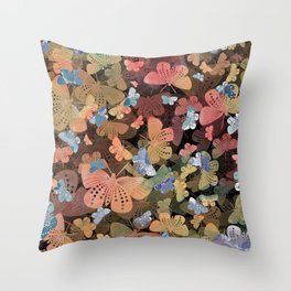 Coral, Green and Blue Butterlfy Pattern inspired by Blockprint textiles Throw Pillow