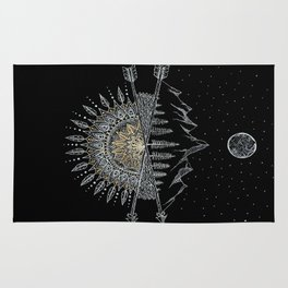 Moon and Stars Night Sky Mountain Range Arrow Mandala Rug