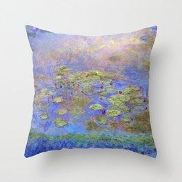 Water Lillies - Claude Monet (indigo blue) Throw Pillow